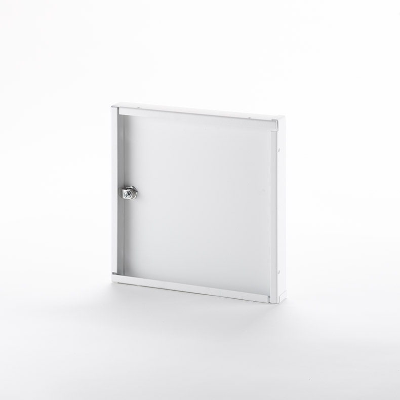 Recessed Access Door without Flange, key operated cylinder cam latch, piano hinge