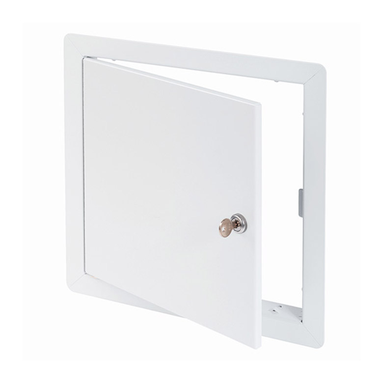 Flush Universal Access Door with Exposed Flange, key operated cylinder cam latch, pin hinge