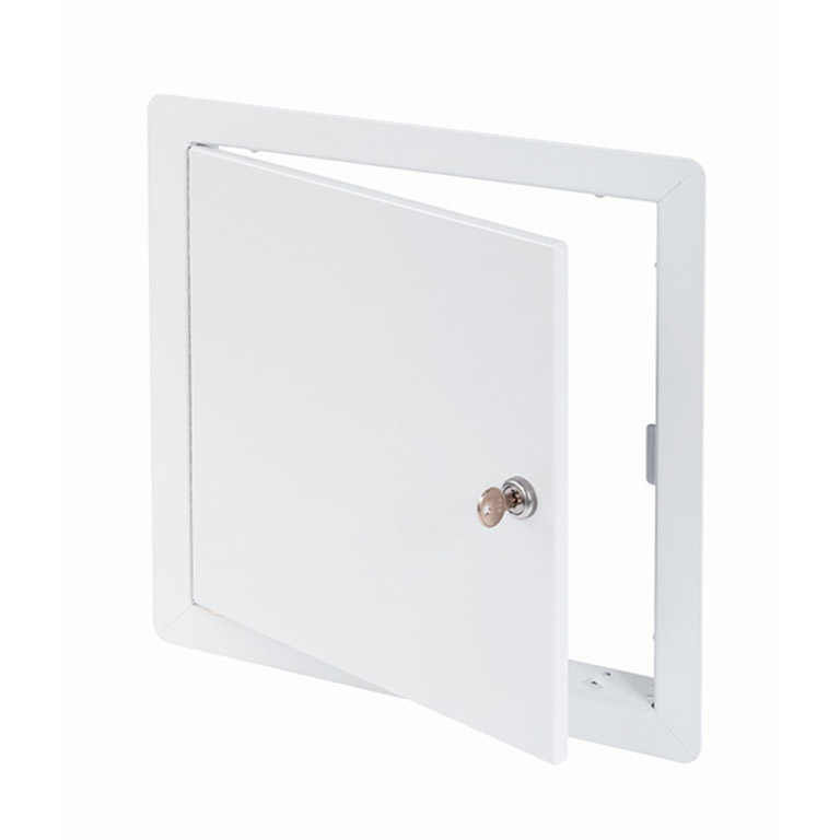 Flush Universal Access Door with Exposed Flange, key operated cylinder cam latch, piano hinge