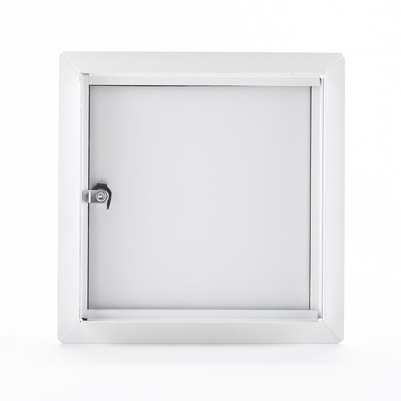 Flush Universal Access Door with Exposed Flange, key operated cylinder cam latch, piano hinge, gasket