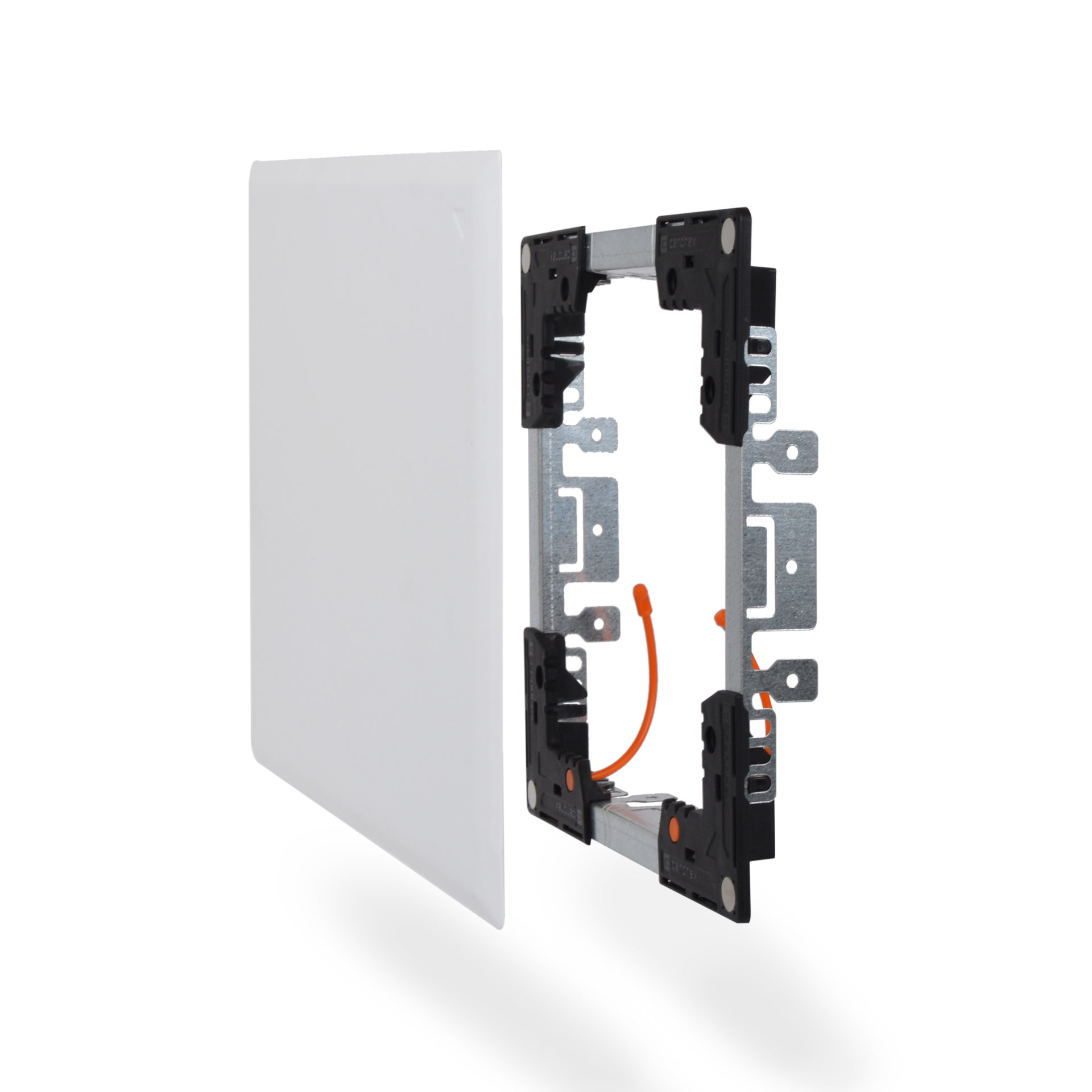 Flush Universal FlexiSnap Access Door with Adjustable Frame and Magnetic Closing, concealed magnets, security cables