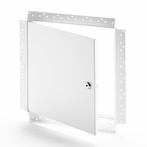 Panneau d'accès avec cadre perforé pour gypse, barillet à clé, penture de type goupille
