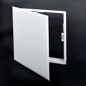 Panneau d'accès à usage universel avec fermeture magnétique, aimants dissimulés, charnière de type pantographe