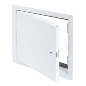 Panneau d'accès à usage universel pour section de grenier avec cadre apparent, enclenchement automatique avec clé-outil et serrure à anneau incluses, penture piano, joint d'étanchéité
