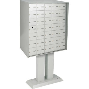 Front-loading horizontal mailboxes, meet or exceed Canada Post standards, pedestal model for exterior use