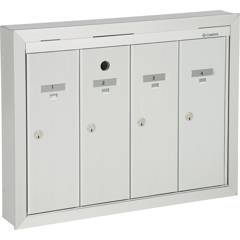 Front-loading vertical mailboxes, semi-recessed model for interior use