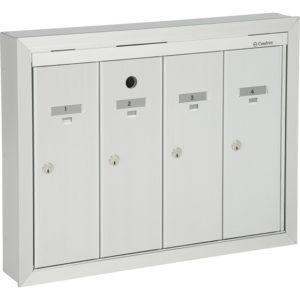Boîtes aux lettres verticales à panneau frontal basculant, modèle semi-encastré, à installer à l'intérieur d'un immeuble