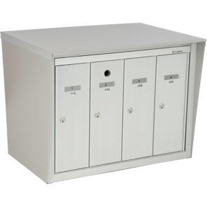 Front-loading vertical mailboxes, back-to-back model with pedestal, for exterior model