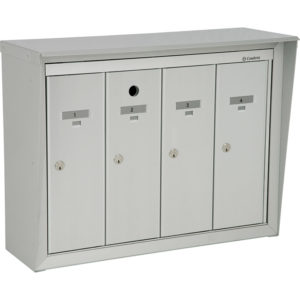 Front-loading vertical mailboxes, wall mounted model for exterior use