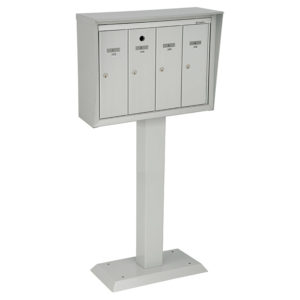 Front-loading vertical mailboxes, pedestal model for exterior use